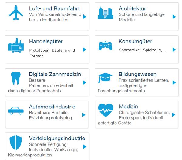 Abb. Branchenbeispiele auf der Website eines 3D-Drucker-Herstellers